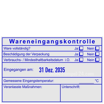 Stempel Lebensmittelkontrolle Verbrauchsdatum gemessene Temperatur • Trodat Professional 54110 •