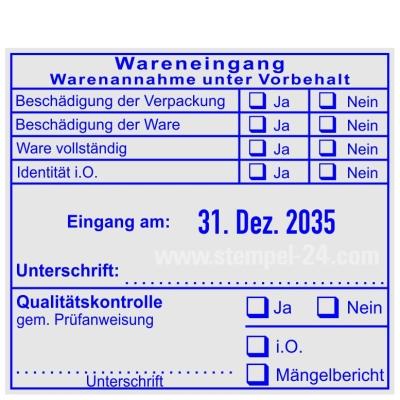 Stempel Warenannahme unter Vorbehalt Qualitätskontrolle gemäß Prüfanweisung • Trodat Professional 54110 •