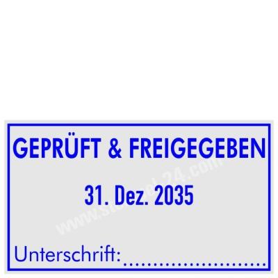 Stempel GEPRÜFT und FREIGEGEBEN mit Unterschrift • Trodat Professional 5460 •