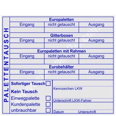 Stempel Palettentausch Europalette Gitterbox Eurobehälter Europaletten mit Rahmen • Trodat Professional 5212 •