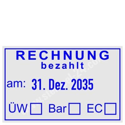 Stempel Rechnung bezahlt mit Überweisung Bar EC-Karte • Trodat Professional 5440 •