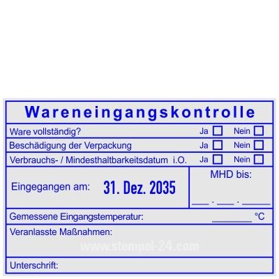 Stempel Wareneingangskontrolle MDH Unterschrift • Trodat Professional 54110 •
