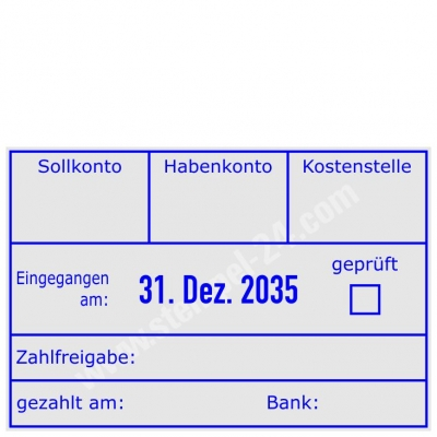 Buchungsstempel Sollkonto, Habenkonto, Kostenstelle, geprüft, gezahlt am, Bank • Trodat Professional 5474 •