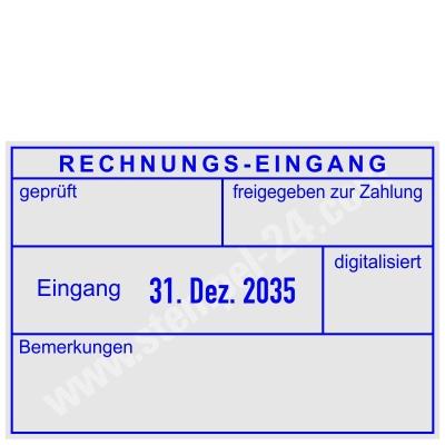 Kontierungsstempel Rechnung-Eingang geprüft, freigegeben zur Zahlung, am Datum verstellbar, Bemerkung, digitalisiert • Trodat Professional 5480 •