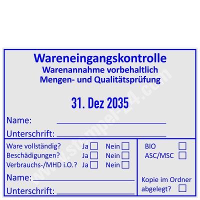 Stempel Wareneingangskontrolle Mengen- und Qualitätsprüfung ASC / MSC • Trodat Professional 54120 •