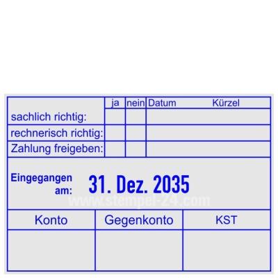 Stempel Zahlung gebucht Konto Gegenkonto Kostenstelle • Trodat Professional 5474 •