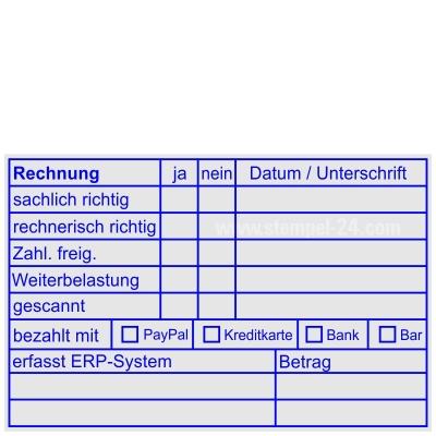 Rechnungsstempel Bezahlt mit PayPal Kreditkarte Bank Bar und erfasst ERP-System • Trodat Professional 5211 •
