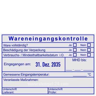 Stempel Wareneingangskontrolle MDH Unterschrift Lieferant • Trodat Professional 54110 •