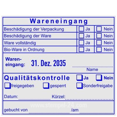 Stempel Wareneingang Bioware in Ordnung • Trodat Professional 54120M •