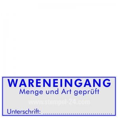 Stempel Wareneingang Menge und Art geprüft Unterschrift • Trodat Printy 4915 •