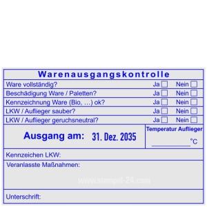 Stempel Warenausgangskontrolle Kühlware Auflieger Temperatur • Trodat Professional 54120 •