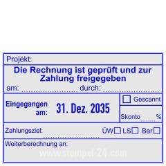 Kontierungsstempel geprüft und zur Zahlung freigegeben • Trodat Professional 5480 •