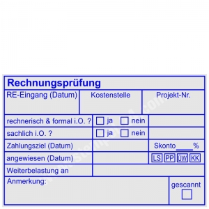 Stempel Rechnungsprüfung Rechnungseingang Kostenstelle Projektnummer Zahlungsziel Lastschrift PayPal Überweisung Kreditkarte • Trodat Professional 5211 •