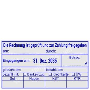 Stempel Buchungsstempel Rechnung ist geprüft Betrag freigegeben • Trodat Professional 54110 •