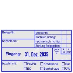 Kontierungsstempel Belegnummer bezahlt mit PayPal Kreditkarte Bar EC Bankeinzug Überweisung • Trodat Professional 5480 •