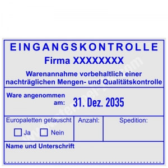 Stempel Eingangskontrolle mit eigenem Firmenname • Trodat Professional 54110 •