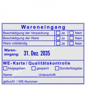 Stempel Wareneingang WE-Karte Qualitätskontrolle • Trodat Professional 54110 •