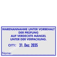 Stempel Warenannahme unter vorbehalt der Prüfung auf verdeckte Mängel unter der Verpackung • Trodat Professional 5480 •