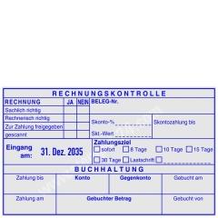 Kontierungsstempel Rechnungskontrolle - Belegnummer - Zahlungsziel - Zahlung bis - Zahlung am - Gebuchter Betrag • Trodat Professional 54120L •