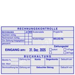 Kontierungsstempel Rechnungskontrolle Buchhaltung, sachlich richtig, zur Zahlung freigegeben, Konto, Gegenkonto, Gebuchter Betrag • Trodat Professional 54120 •