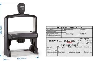 Kontierungsstempel Rechnungskontrolle Buchhaltung, schalich richtig, zur Zahlung freigegeben, Konto, Gegenkonto, Gebuchter Betrag • Trodat Professional 54120 •