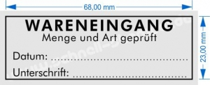 Stempel Wareneingang Menge und Art geprüft Datum Unterschrift • Trodat Printy 4915 •