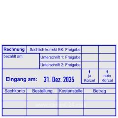 Stempel Rechnungskontrolle Einkauf, Sachkonto, Bestellung, Kostenstelle, Betrag • Trodat Professional 54110 •