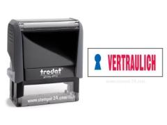 Trodat Office Printy 4912 VERTRAULICH mit roten Schriftzug und blauen Symbol