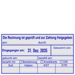 Kontierungsstempel Rechnung ist geprüft und zur Zahlung freigegeben - bezahlt mit Bankeinzug - Kreditkarte - Überweisung • Trodat Professional 54110 •