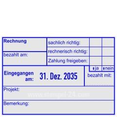 Buchungsstempel - Rechnung bezahlt am - eingegangen am - bezahlt mit - Projekt - Bemerkung • Trodat Professional 5480 •