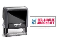 Trodat Office Printy 4912 BEGLAUBIGTE ABSCHRIFT mit roten Schriftzug und blauen Symbol