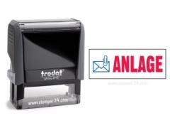 Trodat Office Printy 4912 ANLAGE mit roten Schriftzug und blauen Symbol
