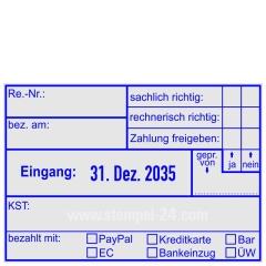Stempel Rechnung bezahlt am bezahlt mit PayPal Kreditkarte Bar EC Bankeinzug Überweisung • Trodat Professional 5480 •