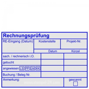Kontierungsstempel Rechnungsprüfung angewiesen Bankart • Holzstempel 60 x 90 mm •
