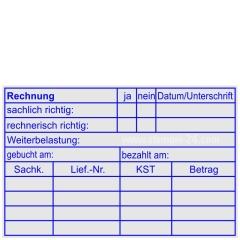 Kontierungstempel Rechnung Weiterbelastung gebucht • Holzstempel 60 x 90 mm •