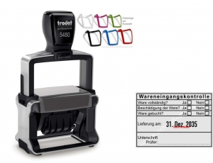 Stempel Wareneingangskontrolle Unterschrift Prüfer • Trodat Professional 5480 •