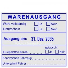 Stempel-Warenausgang-Ware vollständig-Lieferschein-Europaletten getauscht • Trodat Professional 54110 •