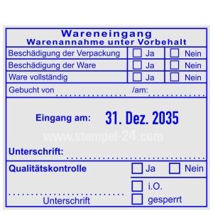 Stempel Wareneingang Warenannahme unter Vorbehalt • Trodat Professional 54110 •