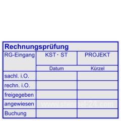 Stempel Rechnungsprüfung-Rechnungseingang-Projekt-sachlich i,O.-rechnerisch i.O.-freigegeben-angewiesen-Buchung • Trodat Professional 5274 •