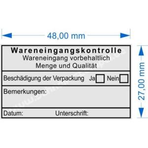 Stempel Wareneingangskontrolle-Wareneingang vorbehaltlich Menge und Qualität- Beschädigung der Verpackung • Trodat Printy 4929 •
