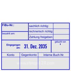 Kontierungsstempel FiBu-Zahlung freigegeben-Eingegangen-gebucht von-Konto-Gegenkonto-Interne Buchungs Nummer • Trodat Professional 5480 •
