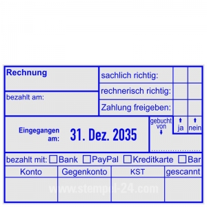 Kontierungsstempel Rechnung Zahlung gebucht Bankart Zahlung freigegeben • Trodat Professional 5480 •