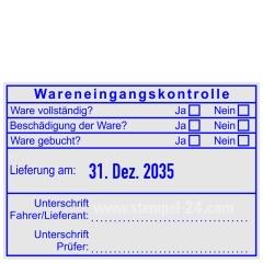 Stempel Wareneingangskontrolle Unterschrift Fahrer/Lieferant Prüfer • Trodat Professional 5480 •
