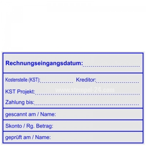 Rechnungsstempel Rechnungseingangsdatum Kostenstelle Kreditor • Holzstempel 60 x 90 mm •