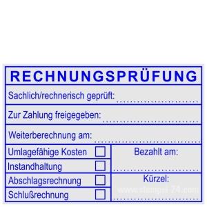 Buchenholzstempel Rechnungsprüfung Schlußrechnung • Holzstempel 50 x 70 mm •