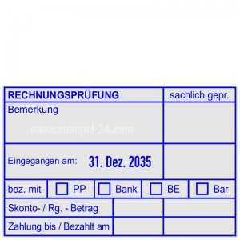 Stempel Rechnungsprüfung Bankeinzug, bezahlt mit PayPal, Bank, Bankeinzug oder Barzahlung • Trodat Professional 54110 •