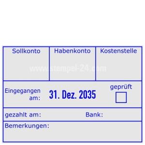 Buchungsstempel Sollkonto-Habenkonto-Kostenstelle-geprüft-gezahlt am-Bank • Trodat Professional 5480 •
