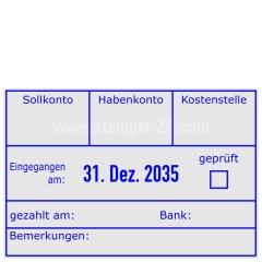 Buchungsstempel Sollkonto-Habenkonto-Kostenstelle-geprüft-gezahlt am-Bank • Trodat Professional 5474 •