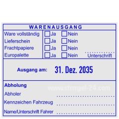 Warenausgangsstempel-Ware vollständig-Lieferschein-Frachtpapiere-Europalette-Unterschrift • Trodat Professional 54110 •