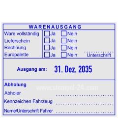 Warenausgangsstempel-Ware vollständig-Lieferschein-Rechnung-Europalette-Unterschrift-Kennzeichen Fahrzeug • Trodat Professional 54110 •